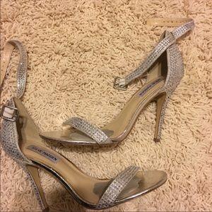 Steve Madden silver heels with diamond stones